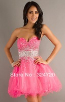 Glamous Sparkling crystal sequinned bubble gum short tulle   party dress for prom damas dress new 2014  ML-9210 free shipping
