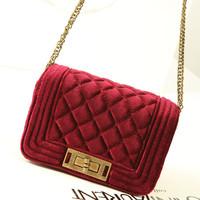 fashion women's Beauty small velvet chain shoulder bag 2013 lady vintage party mini messenger bag autumn winter handbags G4611
