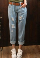 All-match bf beggar hole denim pants g64