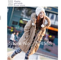 2013 Women winter coat thick warm parka raccoon fur with a hood outerwear wadded jacket female outerwear, free shipping