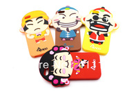 Hot Sale + Free Shipping  Cute Cartoon Fight Landlords Play Cards Silicone Back Case For Apple iPhone 4 4S