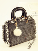 Fashion women's vintage classic handbag lady causal tassels messenger bag  woolen wool ball bag SF470-1