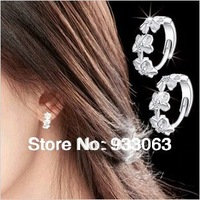 Free shipping Pure silver earrings 925 anti-allergic Women flower ear buckle stud earring accessories  Wholesale Wedding Jewelry