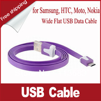 Wide Flat USB Charging Data Cable for Samsung, HTC, Moto, Micro USB Interface Cell Phones