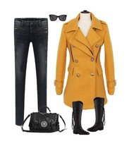 New 2013 Women Wool Trench Women Clothing Slim Long Sleeve Epaulet Double Breasted Fashion Solid Yellow Casual Plus Size S~XXL