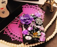 Drop shipping 25% OFF Girl's Xmas gift Luxury diamonds and pearls cute case back cover for iPhone 5s/5/5C