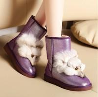 Womens Fox Head Fur Snow Boots Water-proof winter Flat Heel Genuine Leather Fox Fur Warm Snow Boots Purple/Golden Free Shipping