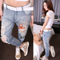Jeans female jeans beggar hole loose pants harem pants