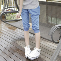 2013 young girl capris thin loose casual denim capris 100% cotton harem pants
