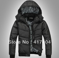 Free shipping Male Winter With hood thicken cotton-padded Coat clothes Black B025