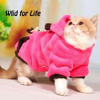 Handtailor Ultra Warm and Soft Cat Autumn Winter Coral Fleece Coat Costume with Hood