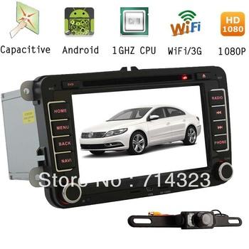 Capacitive Android A8 Chipset HD Car DVD GPS Player VW PASSAT CC TIGUAN EOS GOLF 5 6 POLO SHARAN TOURAN TRANSPORTER T5+Camera