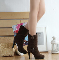 Scrub thick heel high-heeled buckle brief wide-mouth all-match boots knee-high boots