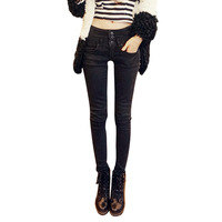 2013 winter repair tight-fitting high waist jeans denim trousers girls pencil pants