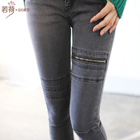 2013 autumn solid color slim elastic pencil skinny jeans female trousers