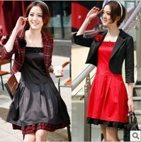 2013 spring twinset  fashion three quarter sleeve plaid spaghetti strap one-piece dress blazer one-piece dress