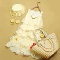 Summer women's Women white chiffon spaghetti strap one-piece dress wedding dress pleated short skirt princess dress
