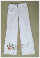 Eqiq white fashion slim wide leg pants 1201