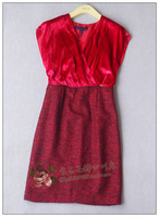 Eqiq red wool patchwork velvet big v-neck dress 1701