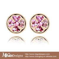 Migodesigns 18K True Gold Plated AAA Cubic Zirconia Round Stud Earrings For Women