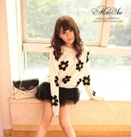 2013 autumn fashion Womens Daisies Print Pullover Sweater Sunflower Jumper Knit Coat sweater flower