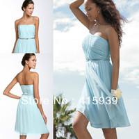 Zipper back a line strapless pleats chiffon light blue short bridesmaid dress brides maid dress BN097