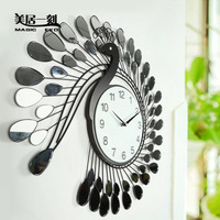 Meiju peacock big wall clock living room decoration clock mute wall clock fashion technology clock