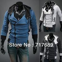 Korean men's hooded sweatershirts Men's fashion oblique zipper cardigan Slim clothes