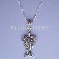 Vintage Silvers Guardian Angel Wings  Long Chain  Charms Statement Choker  Pendants &Necklace Women Fashion Jewelry DIY Z2300