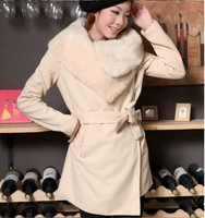 Women Wool Long Coat  Warm Winter Leisure Wear,Cloak Blends Fur Jacket