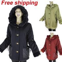 2014 women fleece thicken winter warm Long coat parkas jacket clothes with cap plus size xl xxl xxxl xxxxl free shipping 135TC