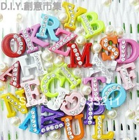 1300pc 8mm mixed color printing half rhinestone Slide letters Charm DIY Accessories A-Z