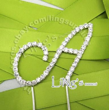 Full crystal rhinestone diamante Monogram Initial Letter A cake topper cupcake(China (Mainland))