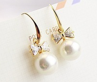 Jewelry wholesale New fashion Natural shell pearl earring bowknot 18k gold plated drop earrings for women 2014 gifts