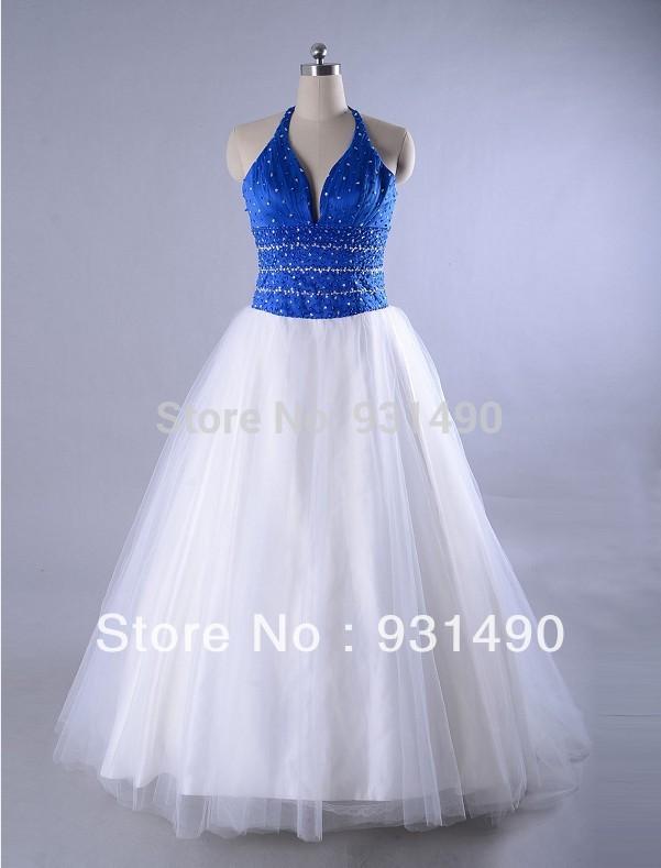 Blue and white wedding dress bridal gown custom made china mainland