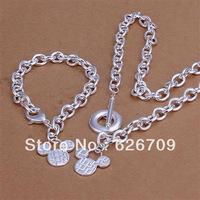 Christmas! JS335 factory price Wholesale, hot sale charm sterling silver jewellry set, fashion jewelry set Micky Tag Jewelry Set