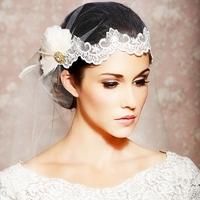 New 2013 Rhinestone Feather Lace Bridal Tiara Veil Vintage Crystal Tiaras For Wedding Veils And Tiaras Hair Accessories WIGO0190