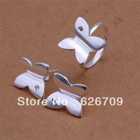 JS350 factory price Wholesale, charm sterling silver 925 jewellry set, fashion jewelry Smooth Butterfly Ring Earring Jewelry Set