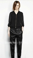 2013 spring autumn winter fashion women  casual pencil black PU leather capris pants pant trousers free shipping xhf