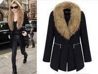Free shipping,Women's Clothing Winter Coat Female Woolen Outerwear Long Design Slim Large Fur Collar Wool Coat XL-5XL,B1144
