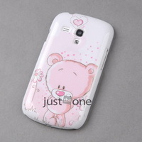 New Fashion  Plastic Cute Pink Bear Back Case Cover skin Protector for Samsung Galaxy S3 mini i8190