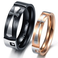 "His and Hers Promise Ring Set  ""Pure Love"" Cross CZ Wedding Rings 316L Stainless Steel Couples Engagement Band New"