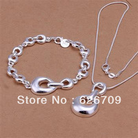 JS345 factory price Wholesale, hot sale charm sterling silver 925 jewellry set, fashion Horse Hoof Bracelet Necklace Jewelry Set