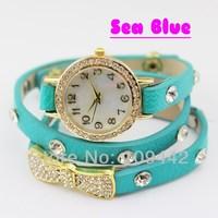 Free Shipping 2pcs/lot 18K Gold Plated Multi Leather Watches Quartz Wristwatch Crystal Bowtie Bracelet Jewelry GW009