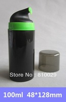 Free Shipping 30pcs/lot 100ml Black Airless Bottle PP Pump Vacuum Bottle Cream Container Neon Green Neck