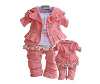 Baby Girl Clothes Top+Pants+T-shirt 3 Piece Girl Outfit Spring Set Costume Size 8-141set Free Shipping NYT-011