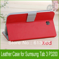Promotion 100pcs Magnetic PU Leather Case for Samsung Tab 3 7.0 T210 P3200 Wallet Case Cover with Stand 9 Colors Free Fedex
