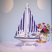 Sailing boat handmade ship model technology 26cm wool sailboat home decoration technology gift