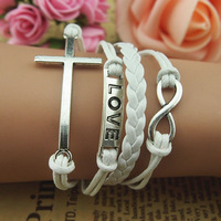 Fashion romantic love 8 cross leather bracelet wax cord bracelet