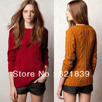 2013 Sale Women's  Autumn New European Fashion O-neck Patch  Long Sleeve 3 Colors Jacquard Pullover Knit Sweater